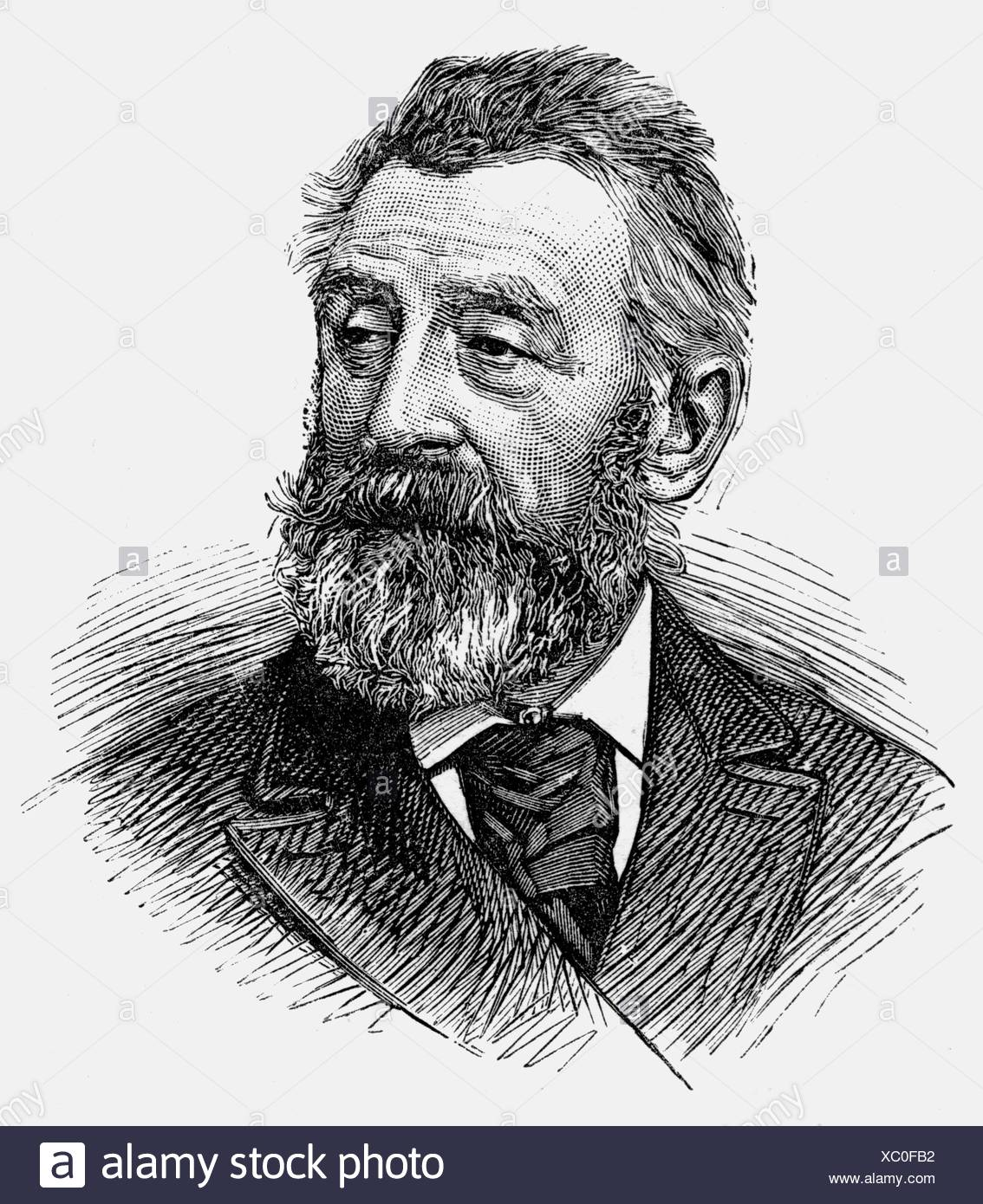 Harpignies, Henry, 28.7.1819 - 28.8.1916, French painter, portrait, wood engraving, Additional-Rights-Clearances-NA - Stock Image