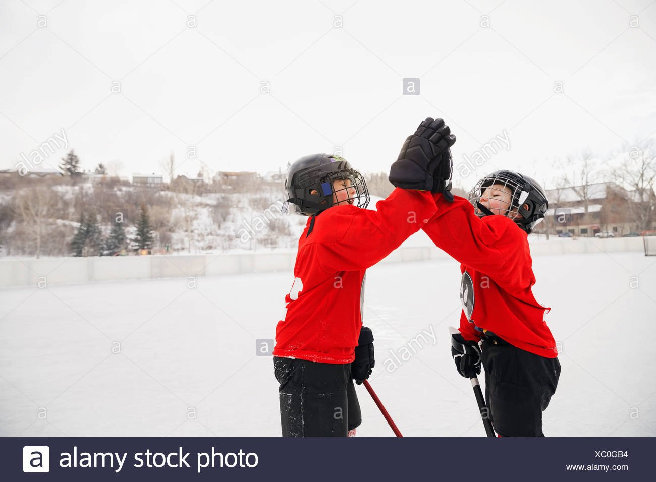 Ice hockey players giving high-five on rink - Stock Image