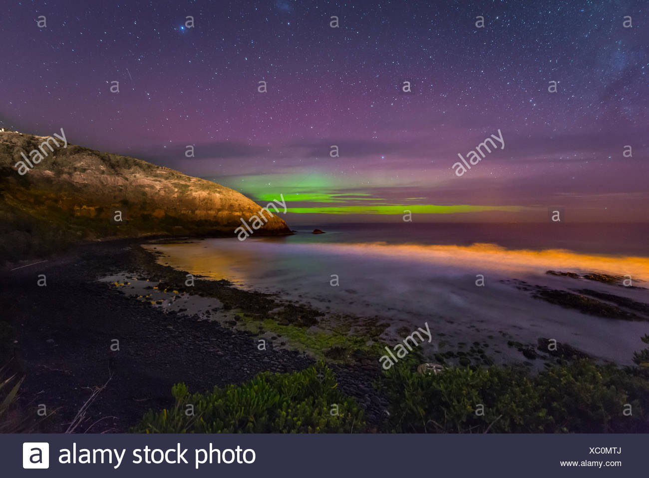 Southern lights, aurora australis over the sea, sand dunes, Second Beach, Dunedin, Otago, Southland, New Zealand Stock Photo