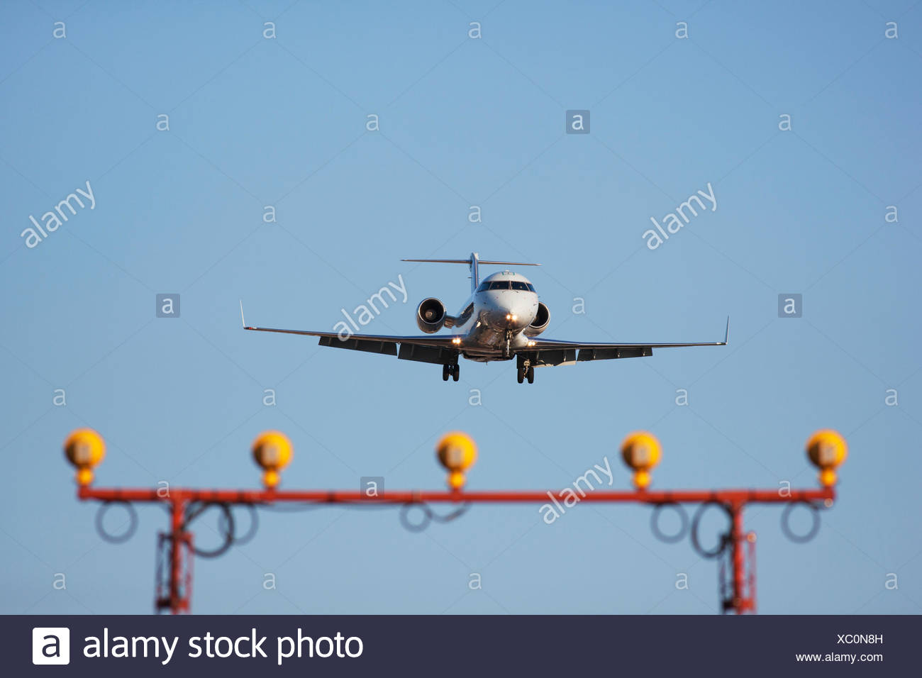 A Bombardier CRJ-100 Regional Jet on approach to Lester B