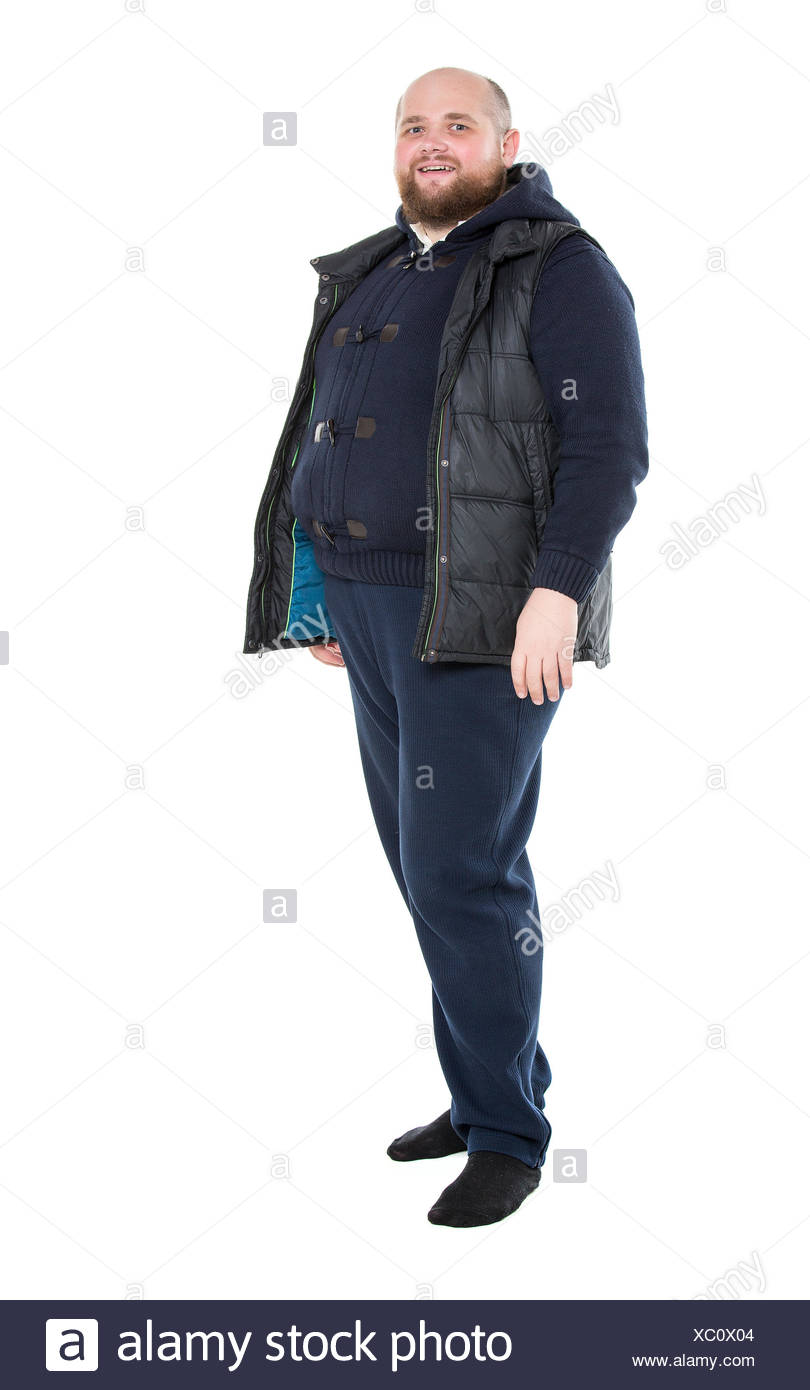 Jolly Fat Man in a Dark Warm Clothes - Stock Image