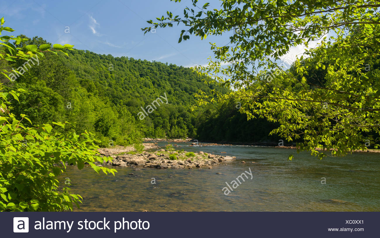 View of Cheat River from Jenkinsburg Bridge - Stock Image