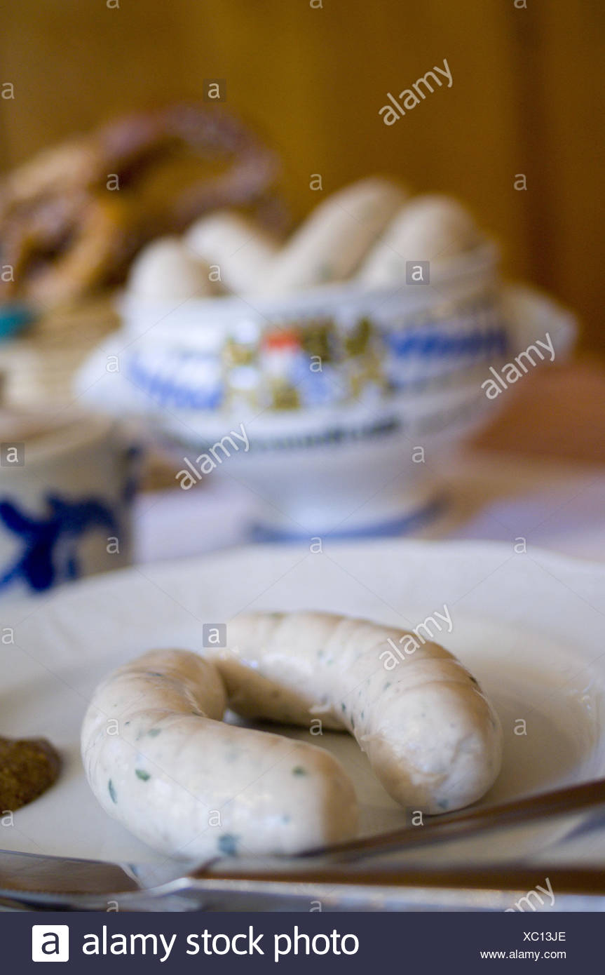 Table, plate, pot, veal sausages, Brezen, Food, Upper Bavaria, in Bavarian, typically, veal sausage breakfast, breakfast, meal, food, dish, tradition, sausages, cake, veal sausage pot, dishes, instruments, blur, - Stock Image
