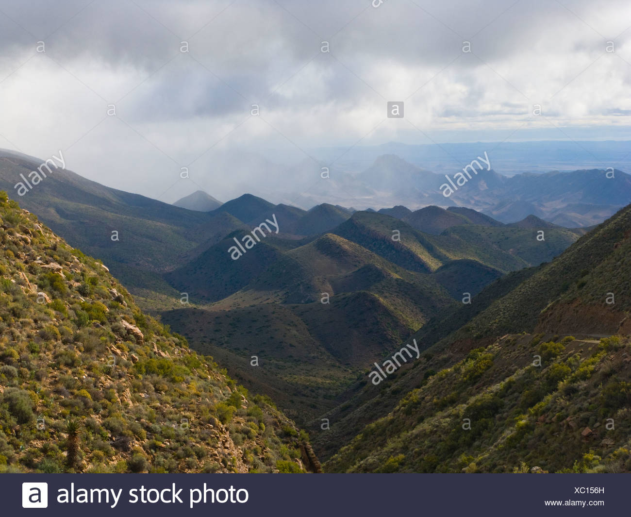 Karroo landscape after recent rains.  Heavy fog indicative of distant showers. - Stock Image