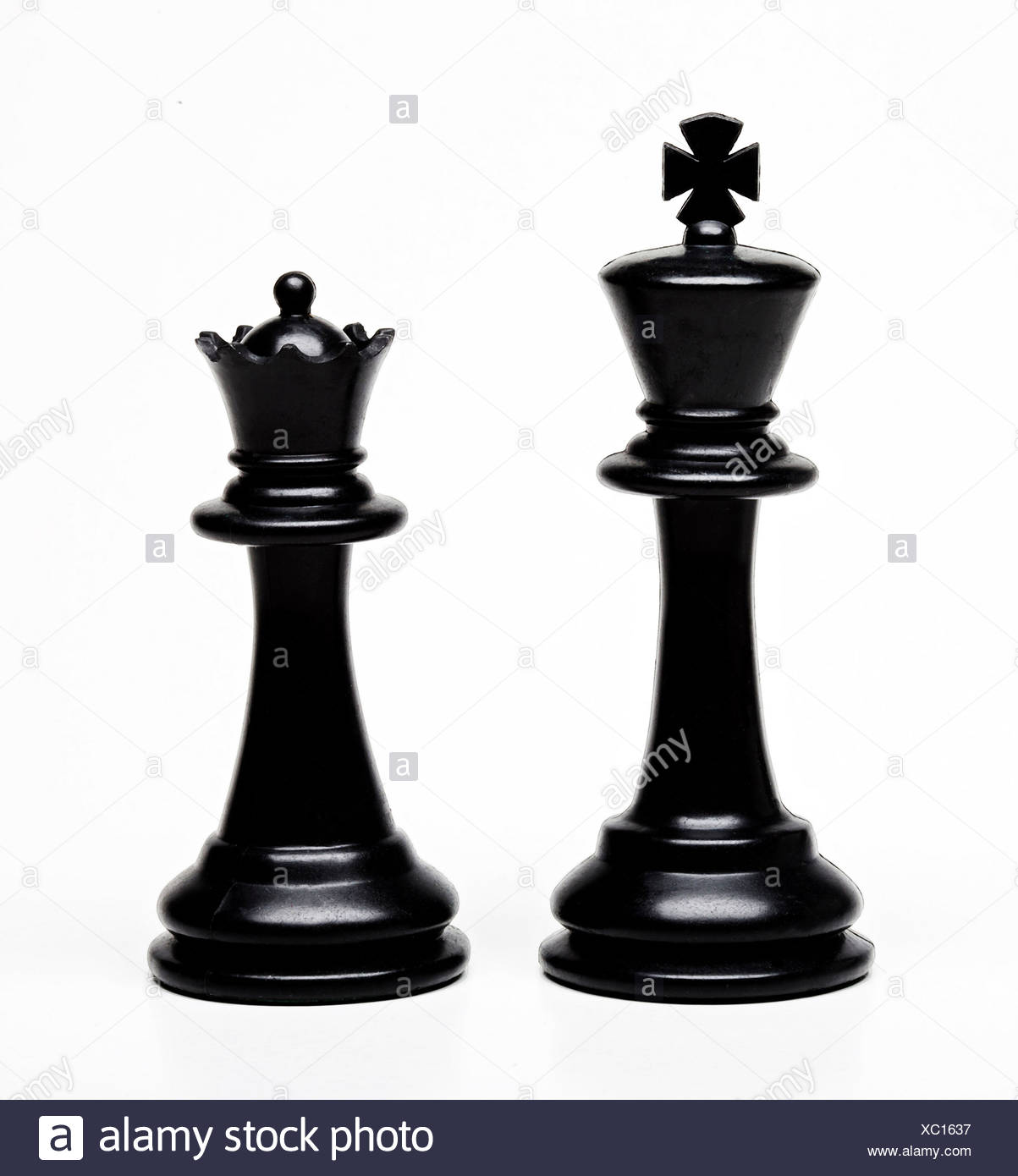 Chess king and queen pieces Stock Photo