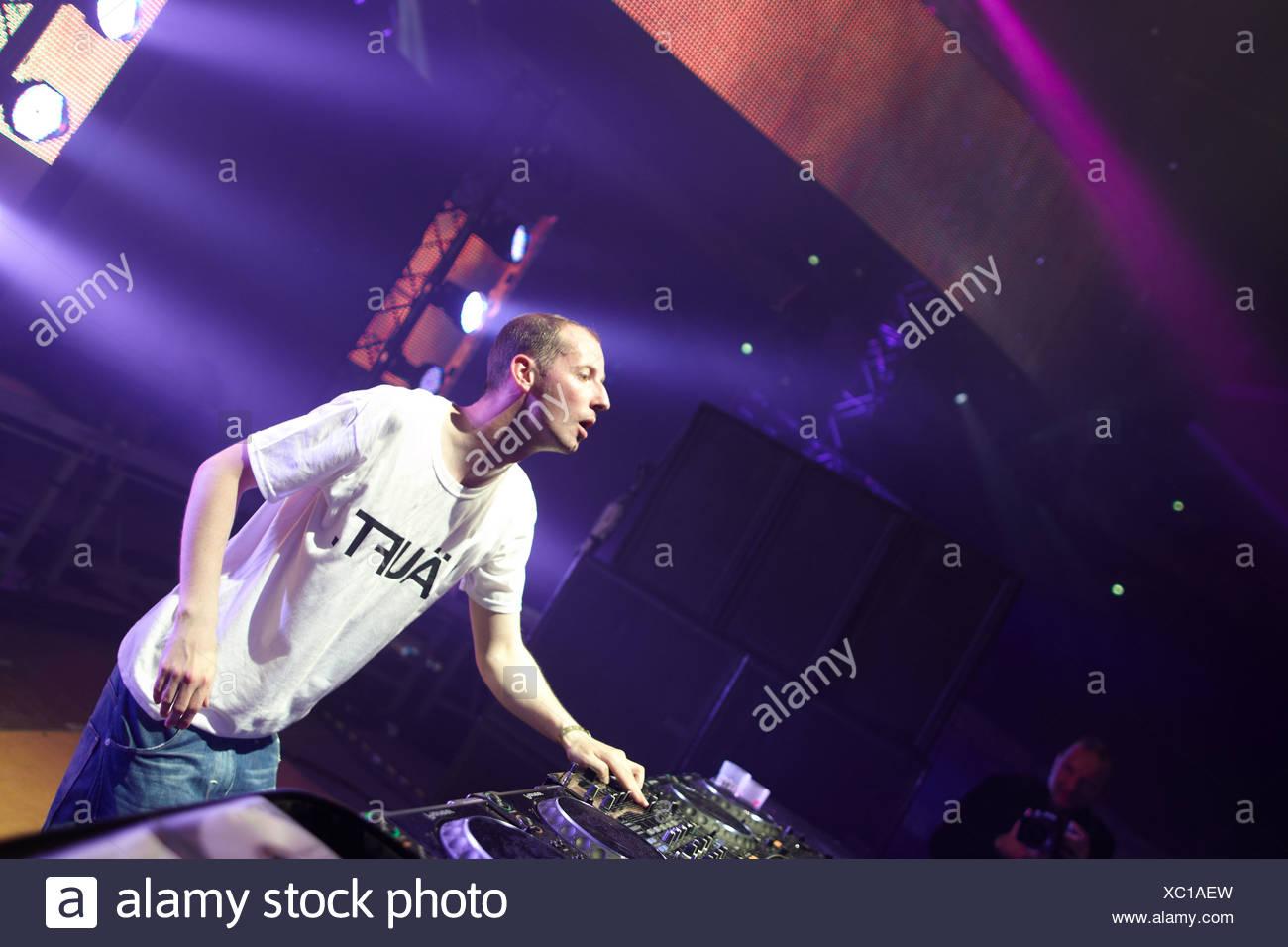 DJ Felix Kroecher, techno festival Mayday 2011 in the Westfalenhalle Dortmund venue, Dortmund, North Rhine-Westphalia - Stock Image