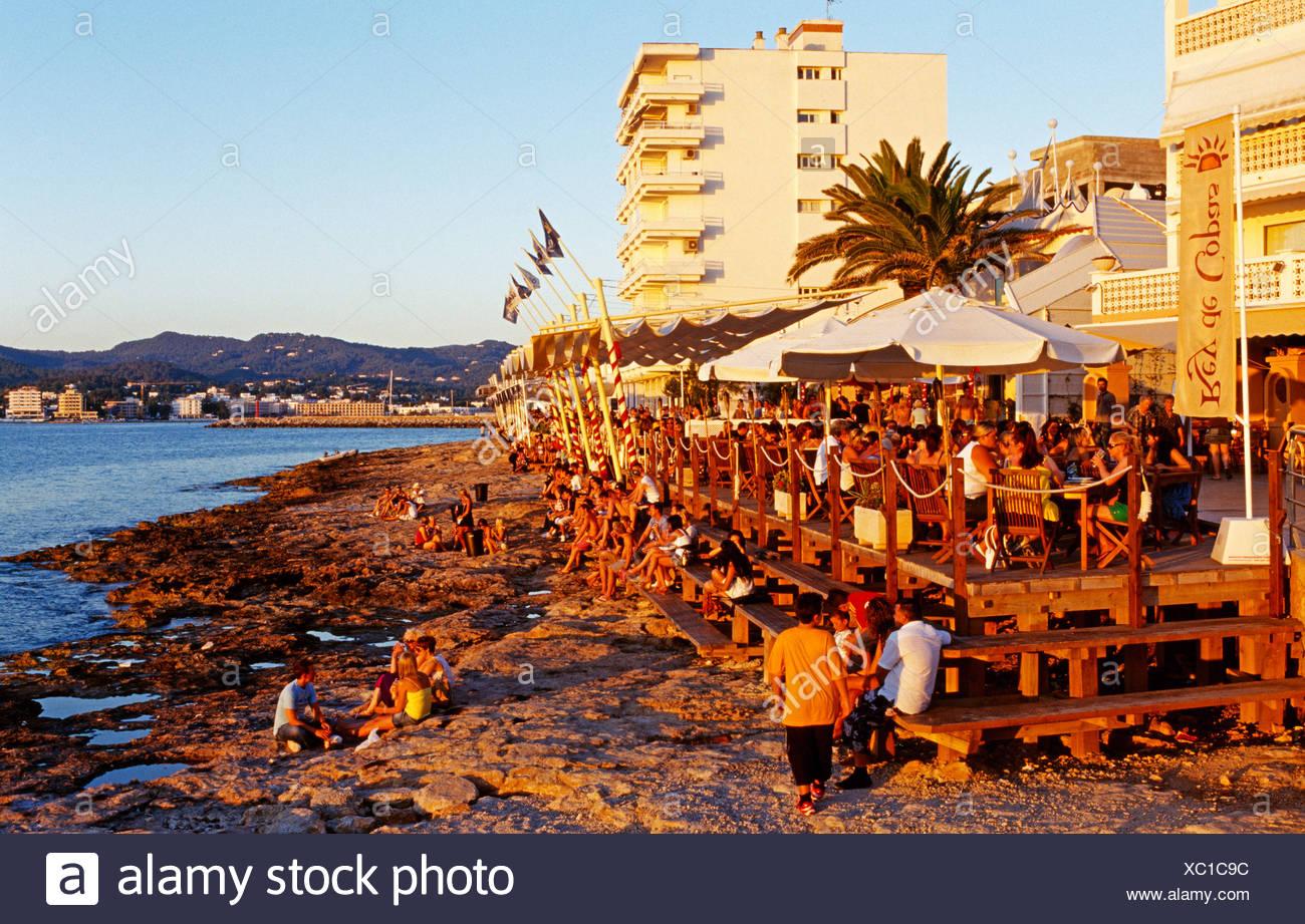 Cafe del Mar, San Antonio, Ibiza, Balearic Islands, Spain - Stock Image