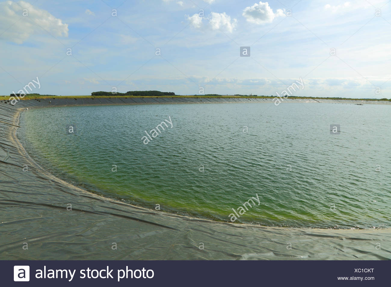 agricultural reservoir, man made, water supply for agriculture, Norfolk, England, UK, crop irrigation reservoirs - Stock Image