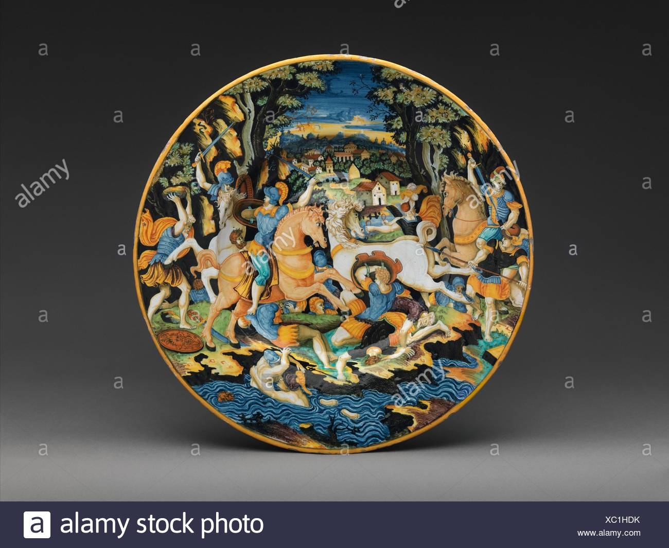 Dish with battle scene. Decorator: Painter of the Coal Mine Service (active mid-16th century); Artist: After an engraving by Marco Dente (Italian, - Stock Image