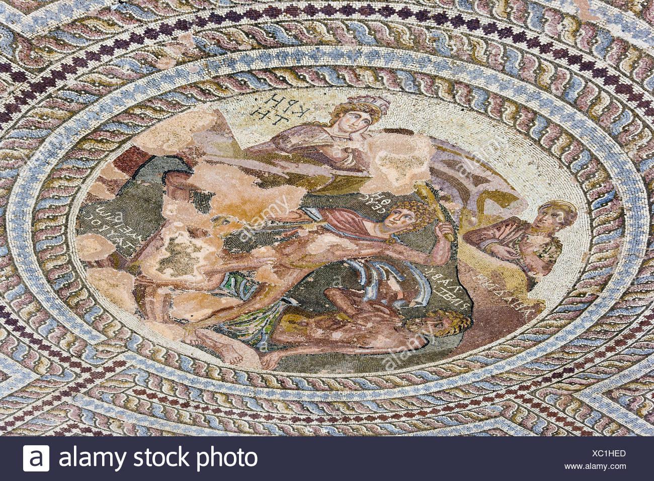 Cyprus, in Greek, Pafos, Archaelogical park, Roman settlement, Theseus mosaic, detail, - Stock Image