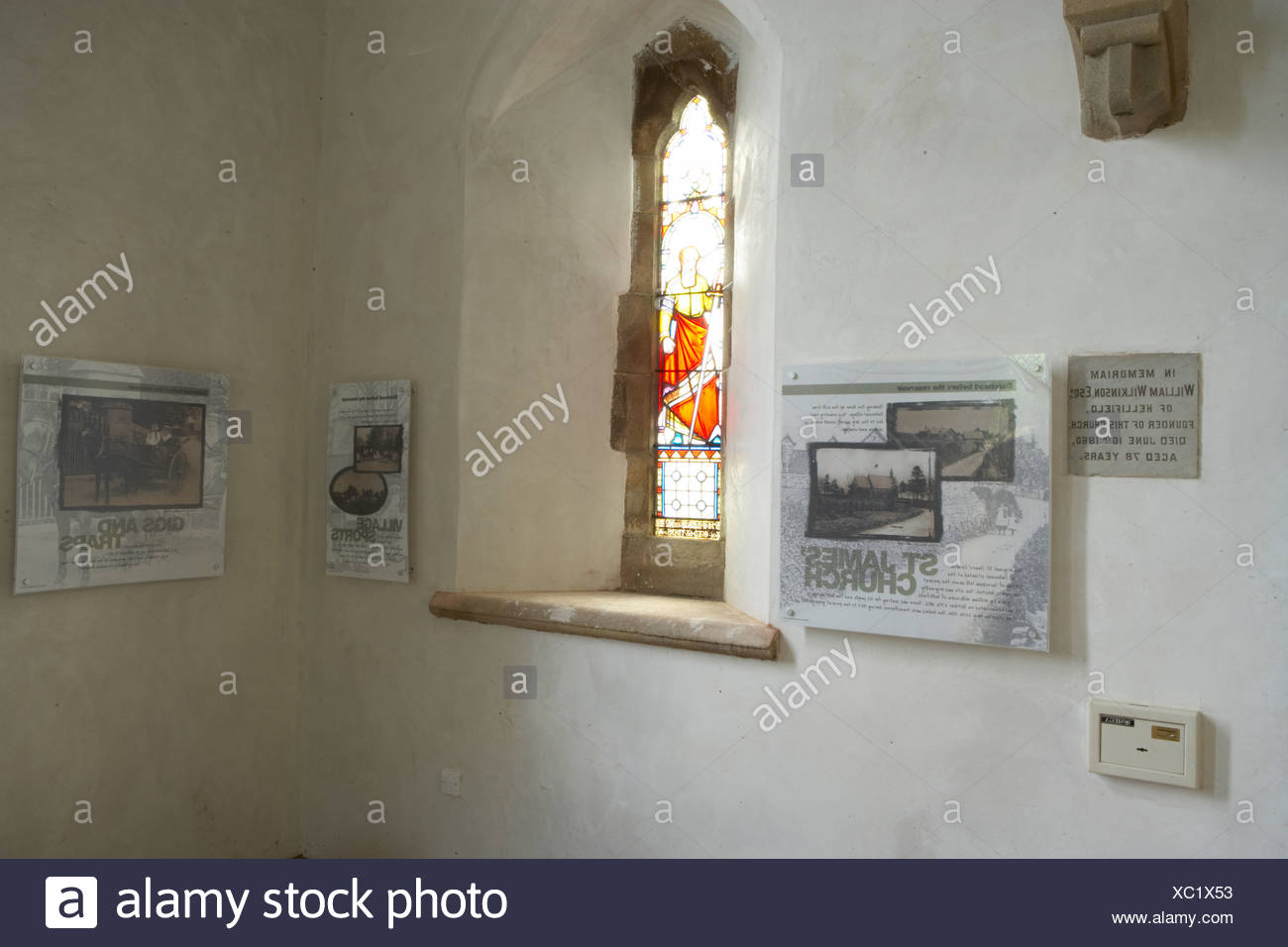 interpretation boards placed in an old chapel to inform tourists Stock Photo