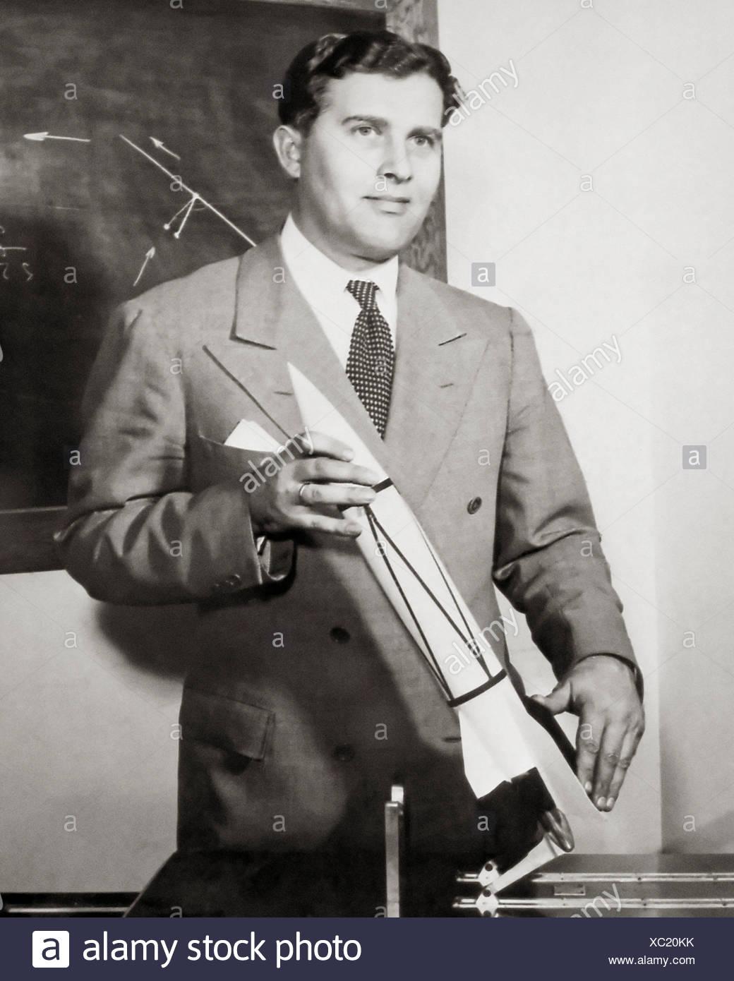 Wernher Von Braun With Rocket Model Stock Photo 282786215