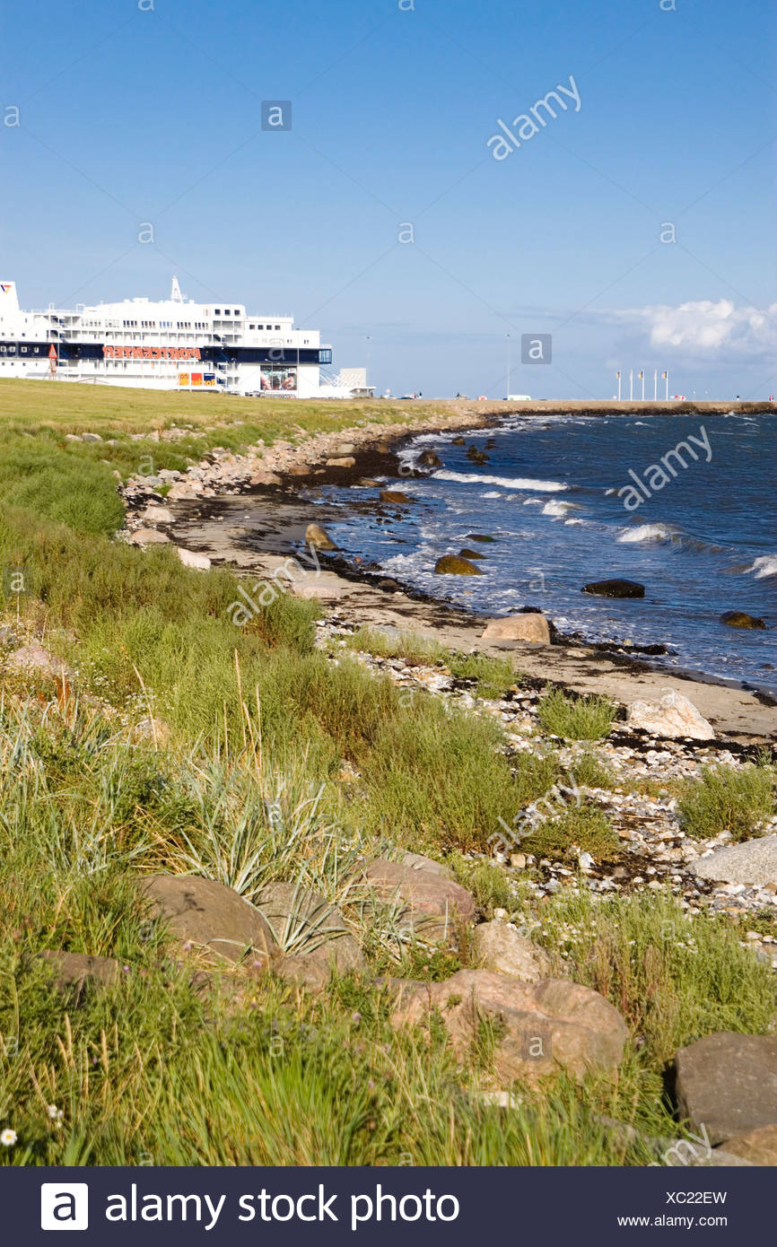 Germany, Fehmarn, ferry and coastline - Stock Image