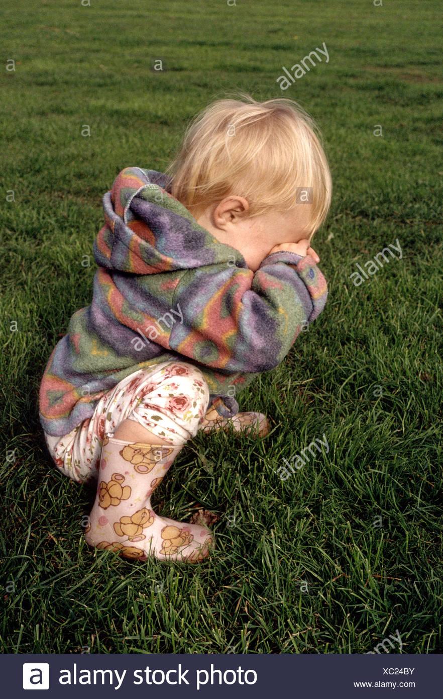 little girl having temper tantrum Stock Photo