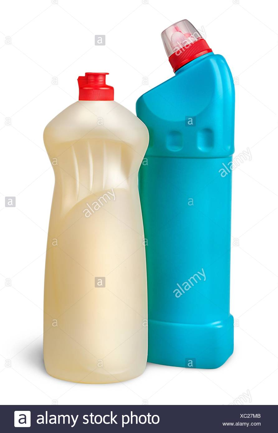 Two plastic bottles of disinfectant near isolated on white background. - Stock Image
