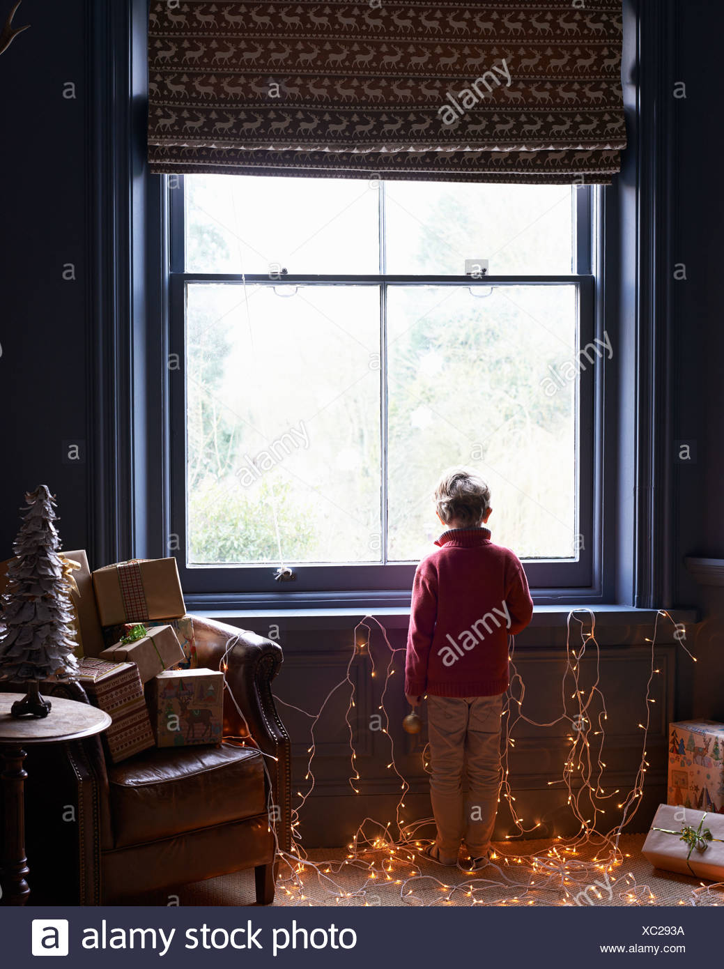 Boy playing with Christmas lights - Stock Image