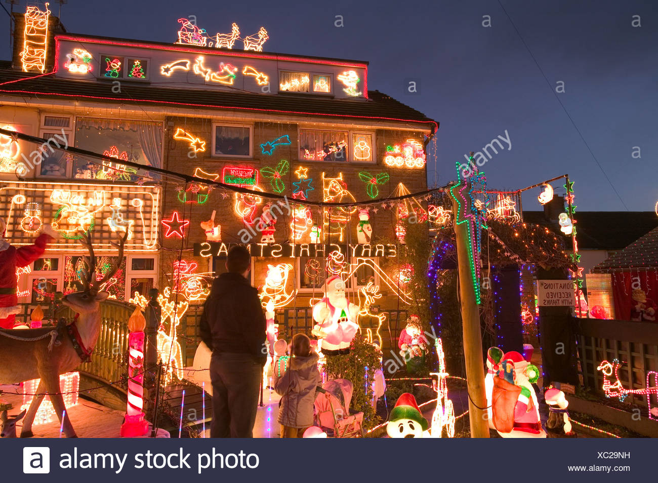 over the top christmas decorations on a house in clitheroe lancashire uk - Best Christmas Decorations Uk