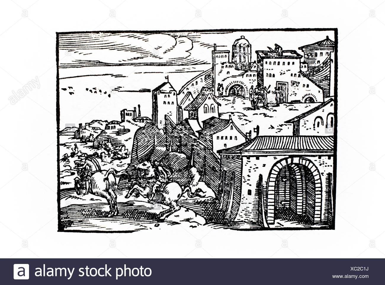 Spies sent to Jericho. Latin Bible. Lyon, 1588. - Stock Image