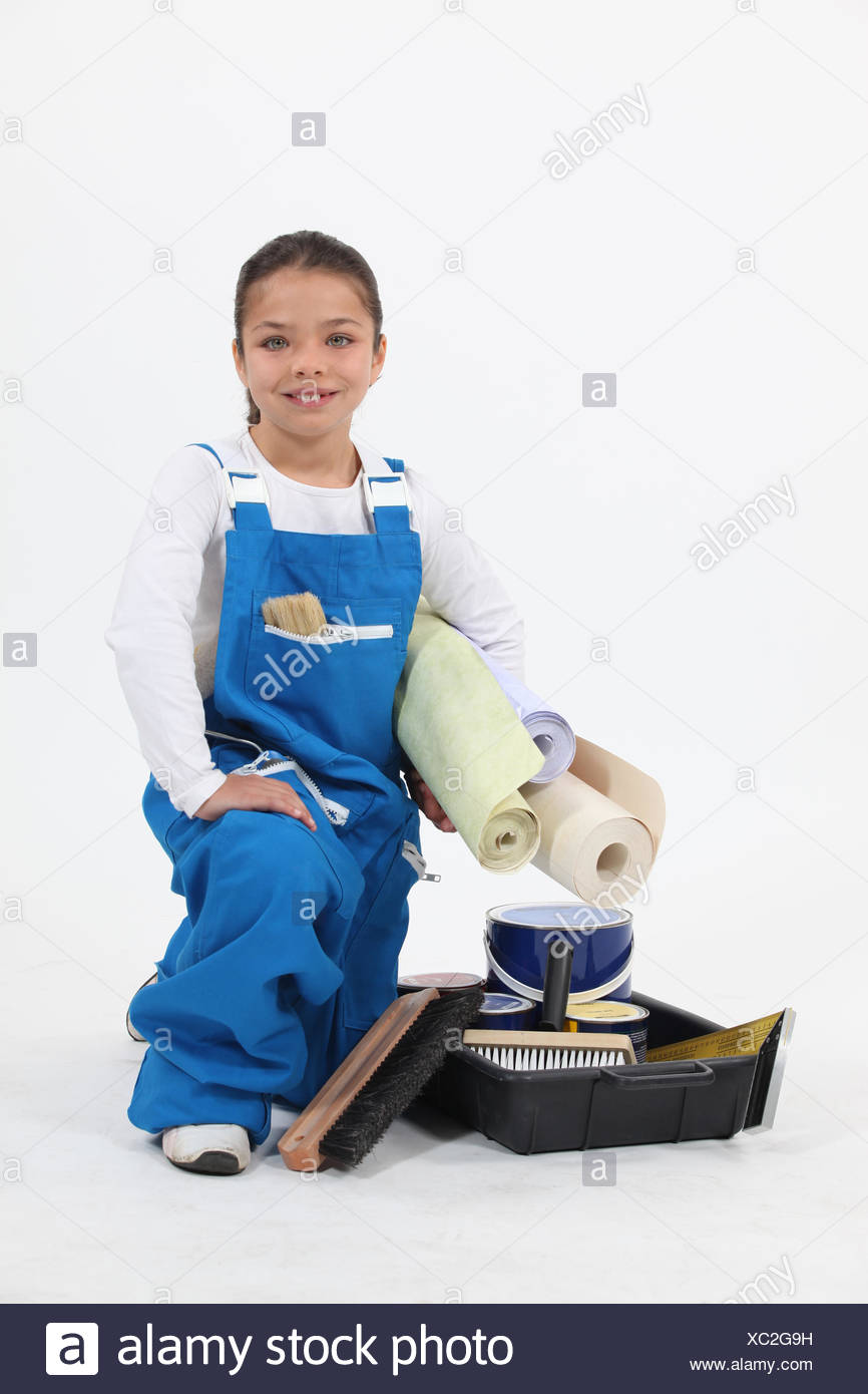 blue, person, overalls, working, young, younger, girl, girls, blue, laugh, - Stock Image