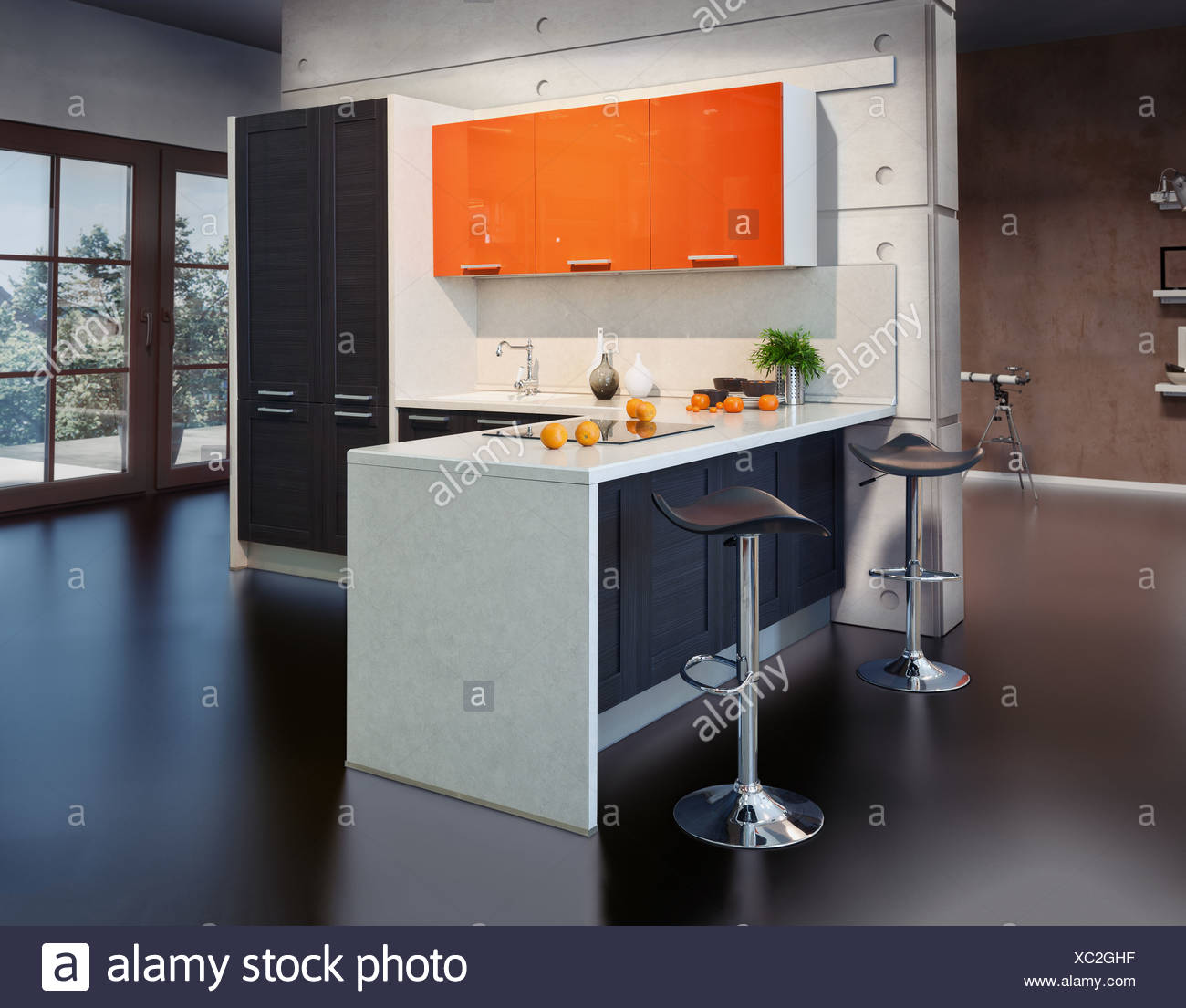 Modern kitchen interior photo (photo compilation elements) - Stock Image