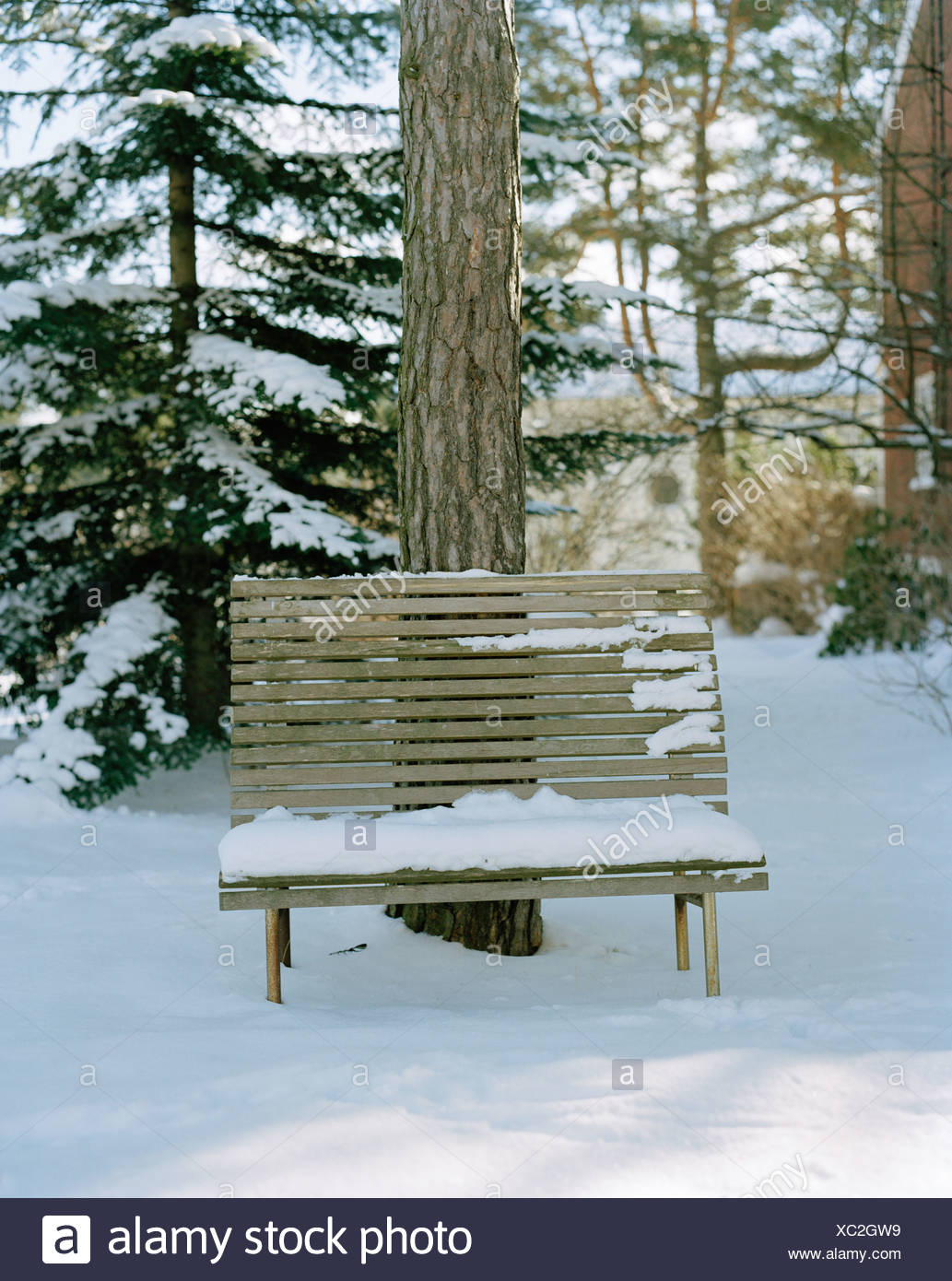 A bench covered wih snow, Stockholm, Sweden. - Stock Image