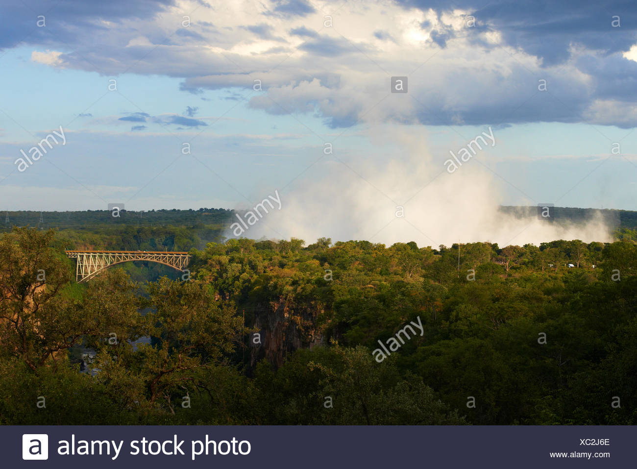 Water vapor above the Victoria Falls - Zambia / Zimbabwe - Stock Image