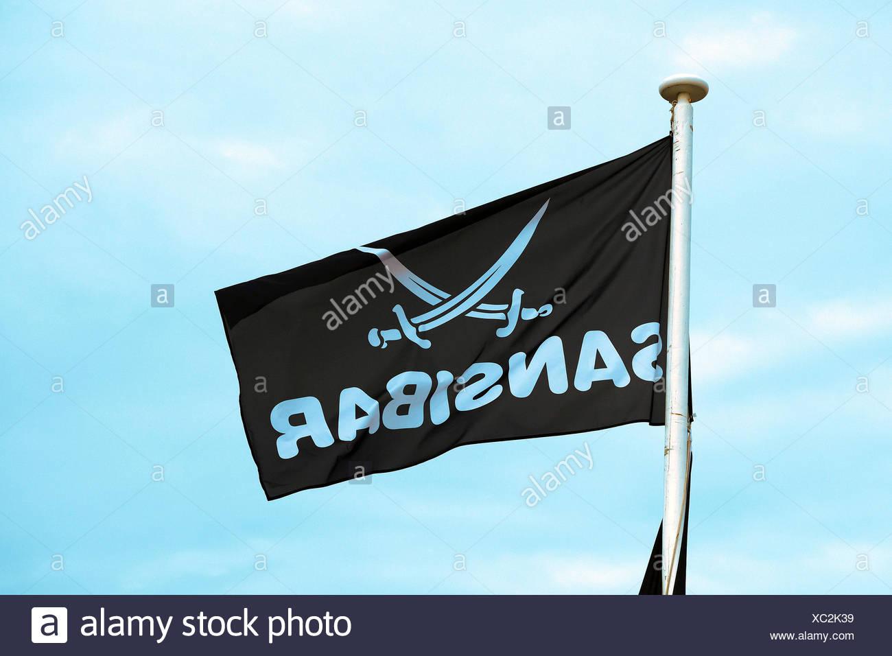 Fahne des Kultrestaurant Sansibar in den Duenen von Rantum, Sylt, nordfriesische Inseln, Nordfriesland, Schleswig-Holstein, Deutschland - Stock Image