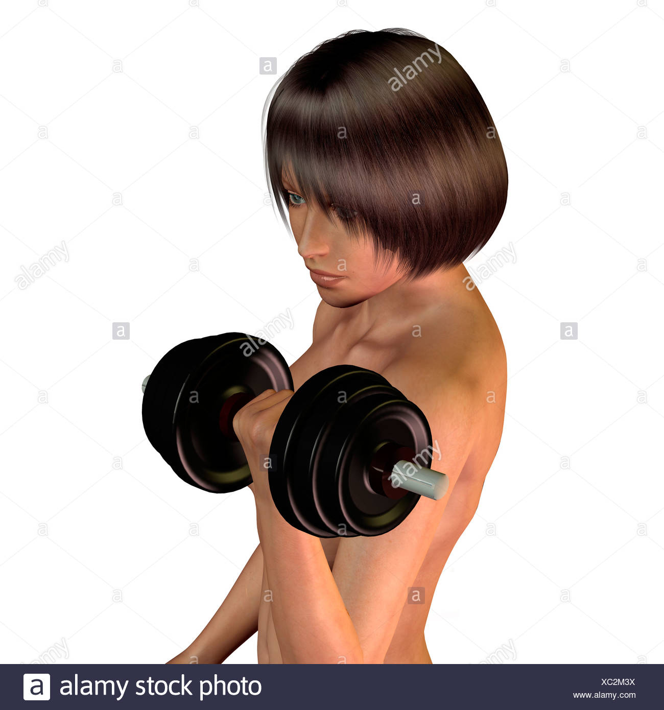 Androgynic person doing workout - Stock Image