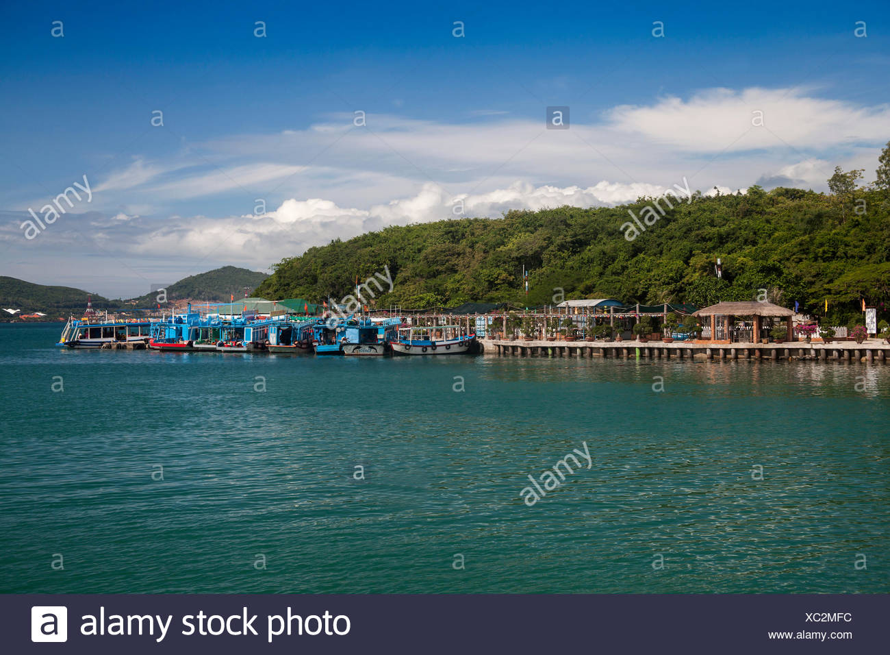 Bay, Vinpearl, island, South China Sea, sea, Asian, Asia, outside, mountains, mountainous, landscape, island, scenery, Nha, Trang - Stock Image