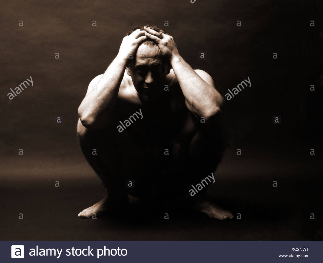 Man in desperation - Stock Image