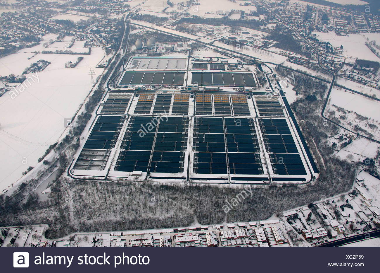 Aerial view, Emscher sewage treatment plant, Emscher river, Emscher course, Dinslaken, winter, snow, North Rhine-Westphalia, Ge - Stock Image