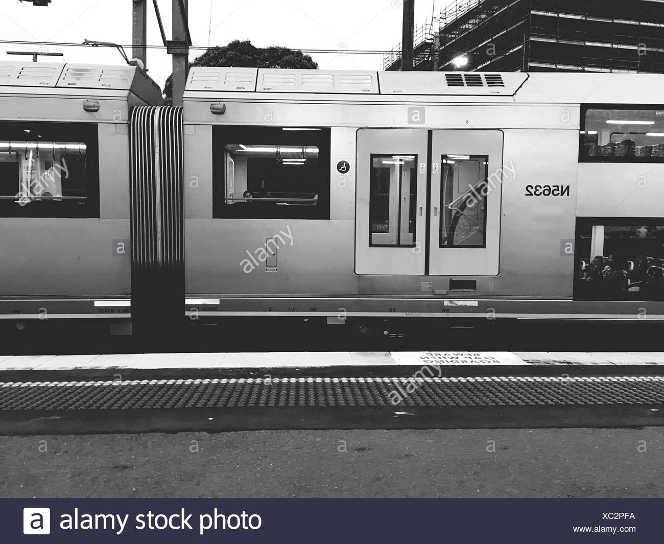 Train Parked On Railroad Station - Stock Image