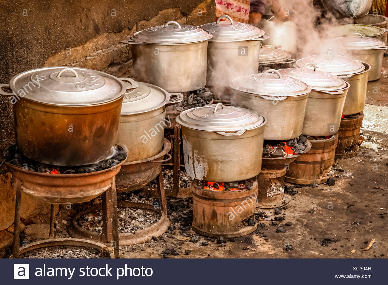 Pots on fire - Stock Image