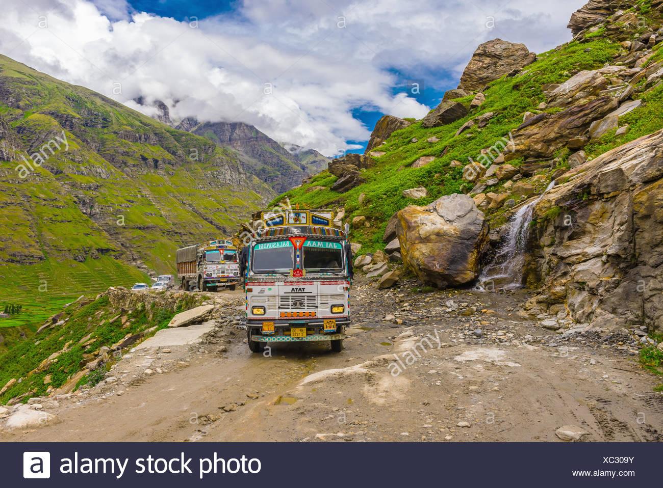 13 Asia cloud color image connect foot highway Himachal Pradesh Himalayas horizontal India lahaul Leh-Manali Manali near panjal - Stock Image
