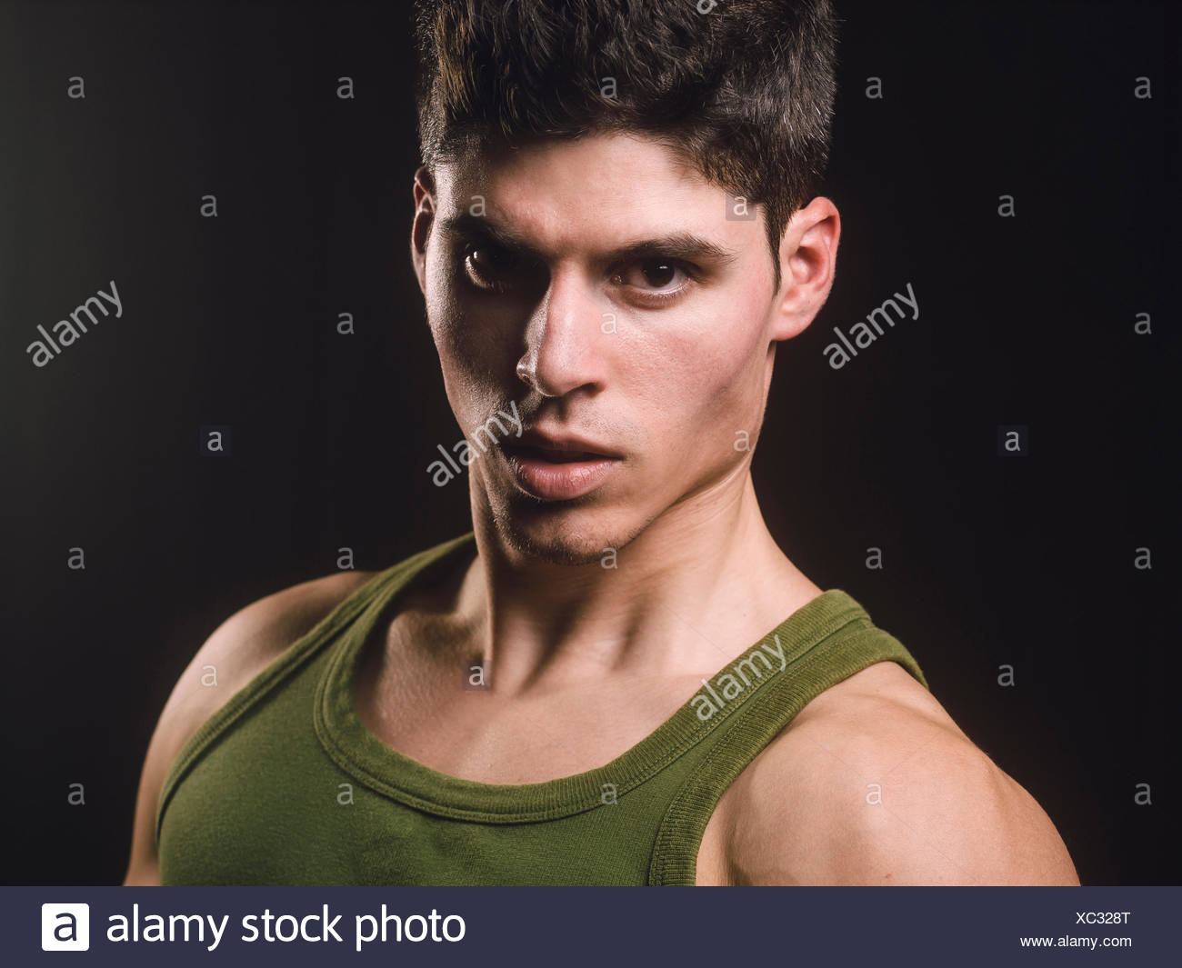 Portrait of handsome and athletic man - Stock Image