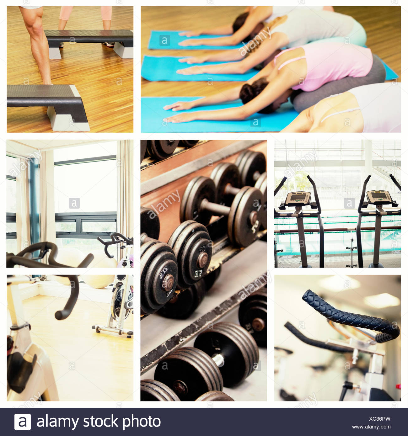 Composite image of yoga class in childs pose in fitness studio Stock Photo