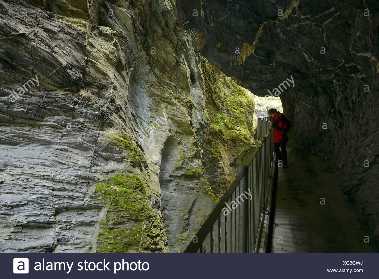 Tourist looking down into the Viamala gorge near Thusis, canton of Grisons, Switzerland, Europe - Stock Image