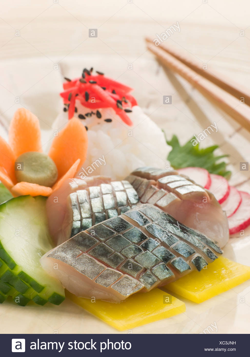 Sashimi of Mackerel with Pickled Daikon Salad and Vinegar Rice - Stock Image