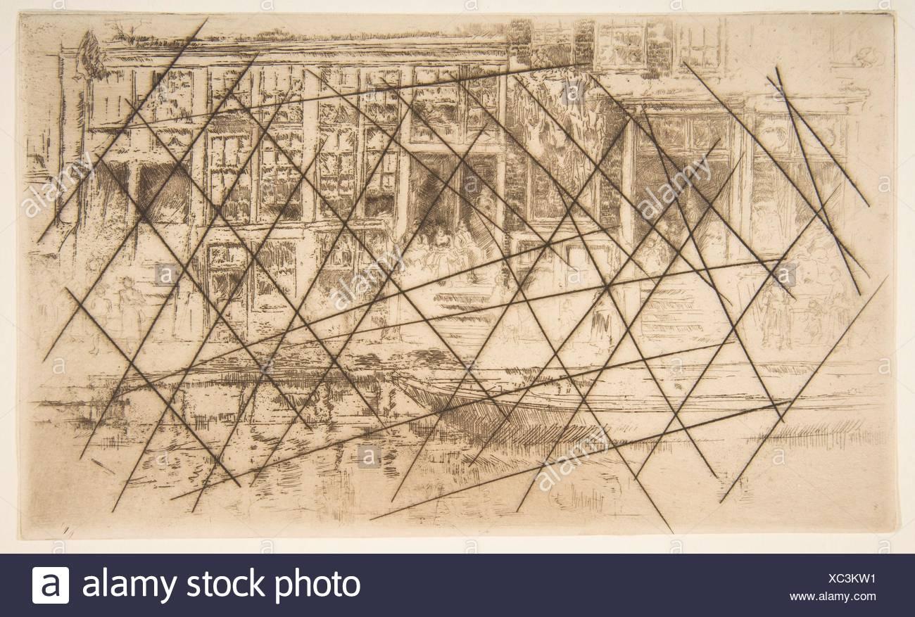 Jews' Quarter, Amsterdam. Artist: James McNeill Whistler (American, Lowell, Massachusetts 1834-1903 London); Date: 1889; Medium: Etching; cancelled - Stock Image