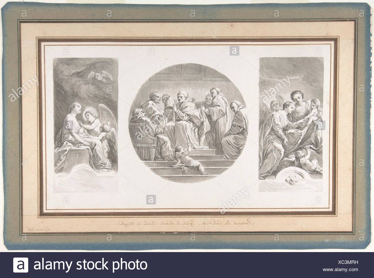 The Mystic Marriage of Saint Catherine; Saint Celestine V Renouncing the Papacy; Saint Catherine Touched by Divine Love. Artist: Nicolas Bernard - Stock Image