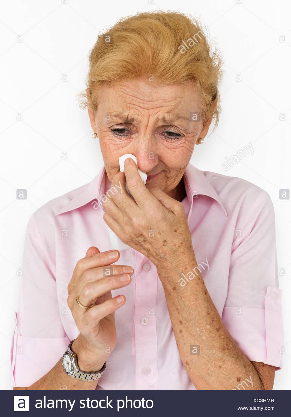 Upset Crying Depression Senior Woman Concept - Stock Image