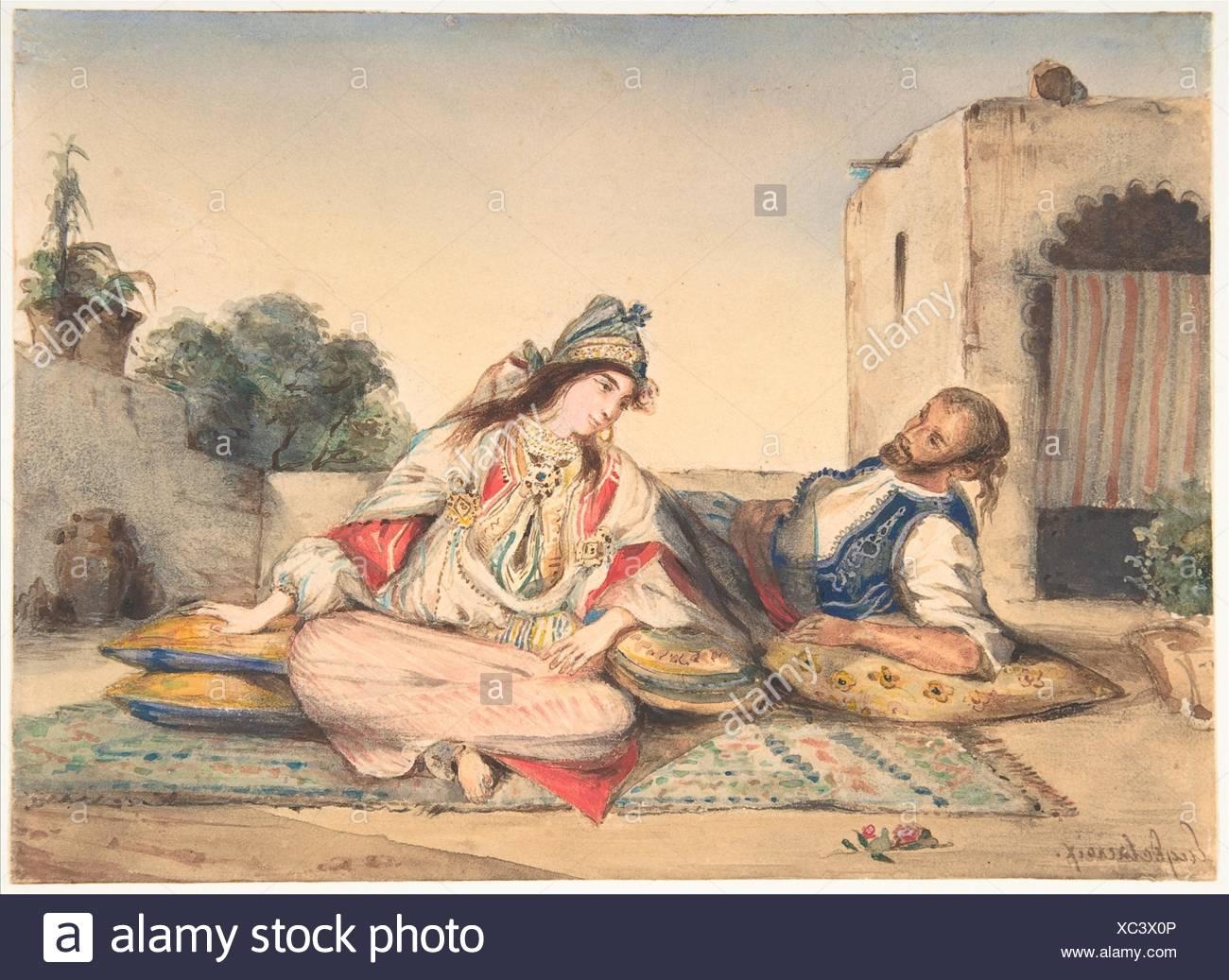 A Moorish Couple on Their Terrace. Artist: Eugène Delacroix (French, Charenton-Saint-Maurice 1798-1863 Paris); Date: 1832; Medium: Watercolor over Stock Photo