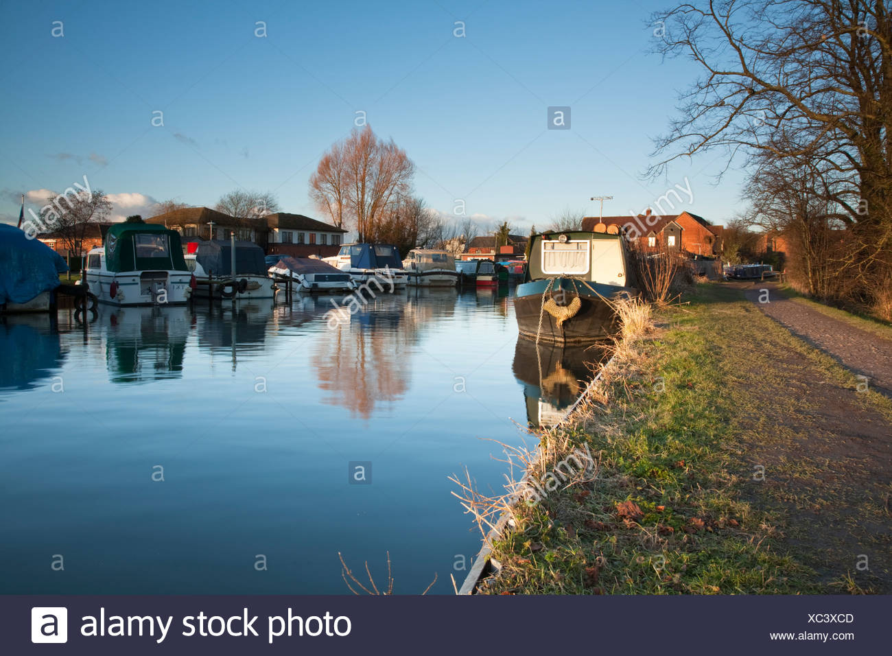 River Kennet and Kennet and Avon Canal in Newbury, Berkshire, Uk - Stock Image