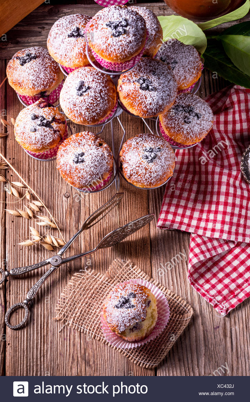 blueberries muffins - Stock Image