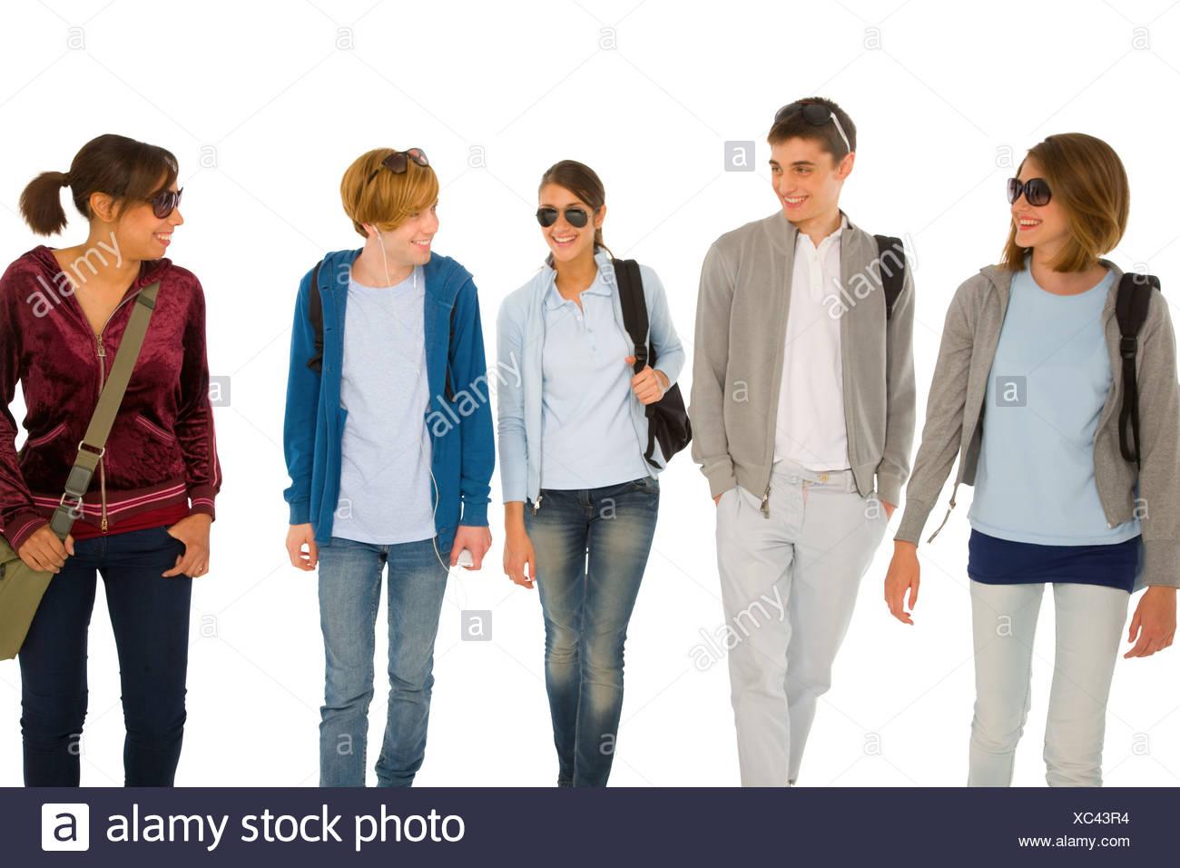 group of teenage students - Stock Image