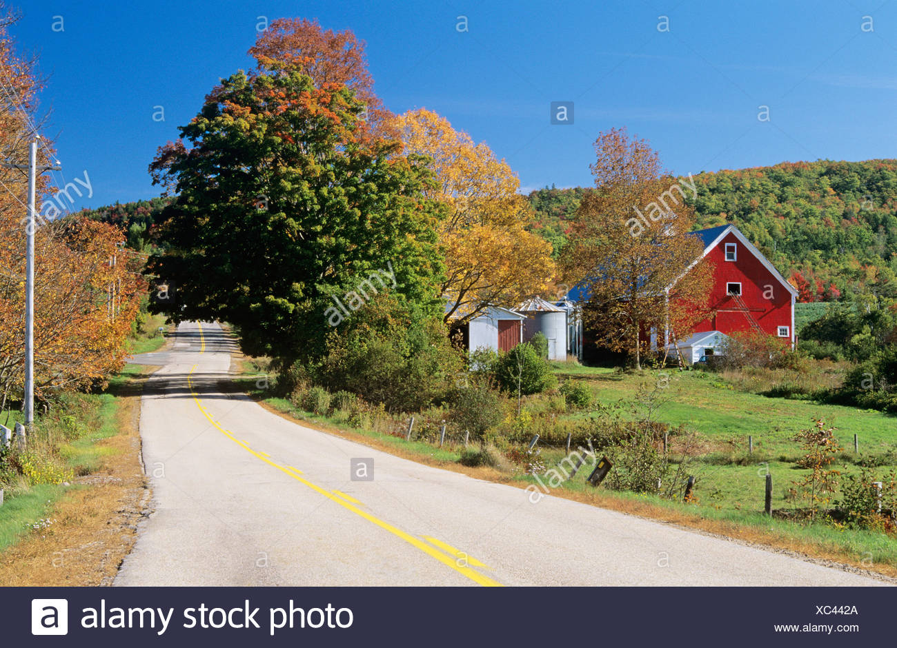 Country road and farm near Clarence, Annapolis River Valley, Nova Scotia, Canada. - Stock Image