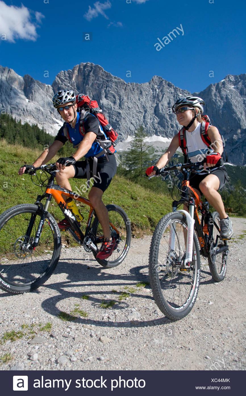 Bike Austria Ramsau Dachstein Styria summer alp mountain alps alpine mountains landscape scenery nature Bicycle Bicycles - Stock Image