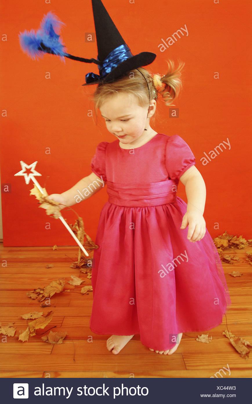 4 People Halloween Costumes Girls.Halloween Child Girls Dress Pink Witch Hat Magic Wand Small