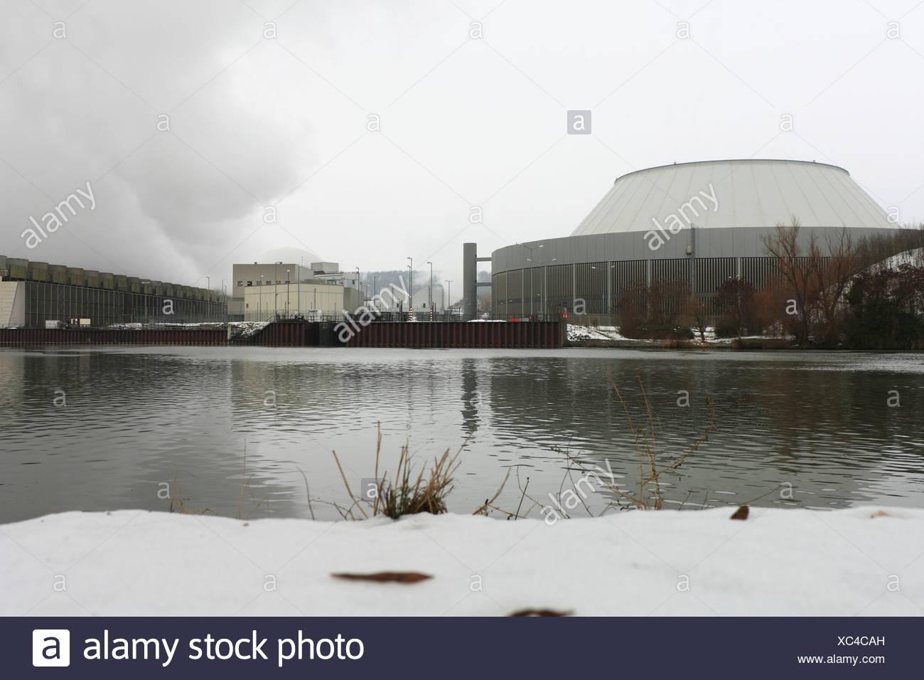 Nuclear power plant Neckarwestheim on the Neckar river, Neckarwestheim, Baden-Wuerttemberg, Germany, Europe - Stock Image