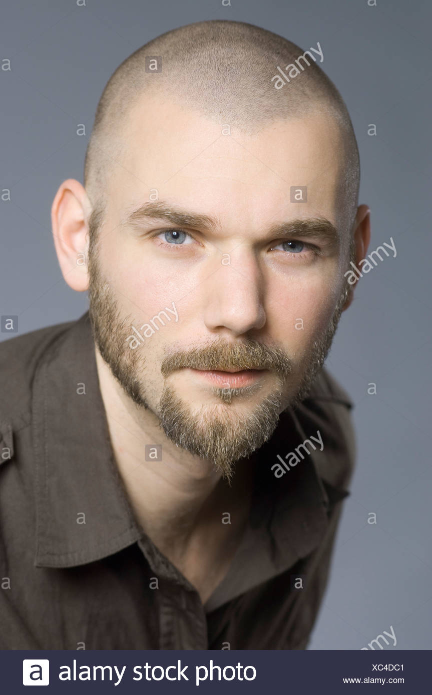 portrait of bald man with beard - Stock Image